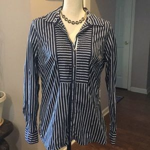 Charter Club blouse- navy and white . Size 10